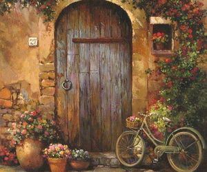 art, bicycle, and flowers image