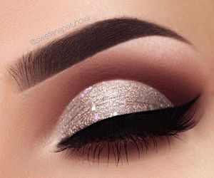 makeup, glitter, and eyeliner image