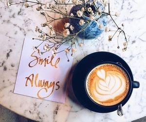 coffee, smile, and flowers image