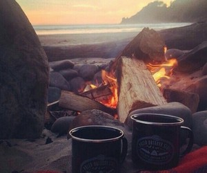 beach, coffee, and fire image