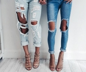 best friends, bff, and ripped jeans image