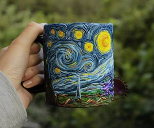 colors, starry night, and cup image