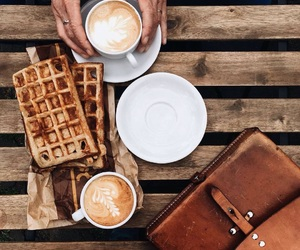 coffee, waffles, and autumn image
