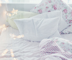 bed, pastel, and white image