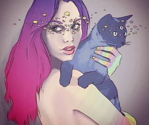 art, cat, and colors image