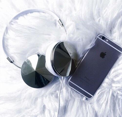 iphone, headphones, and apple image