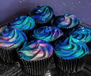cupcakes, food, and galaxy image