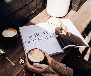 coffee, brown, and magazine image