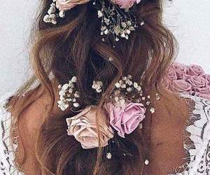 hairstyle, roses, and flowers image