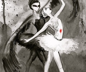 black swan, ballet, and black image