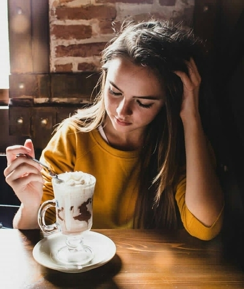 coffee, girl, and hair image