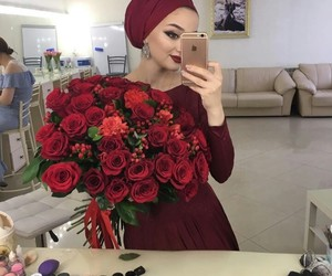 dress, flowers, and hijab image