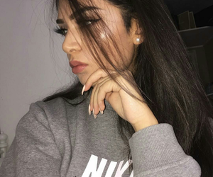 girl, makeup, and nike image