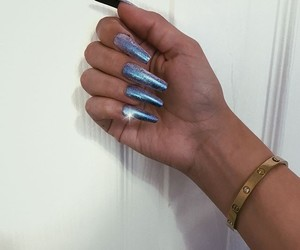 long nails, chrome nails, and heart this image