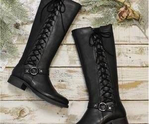 black boots, lace up boots, and boots image