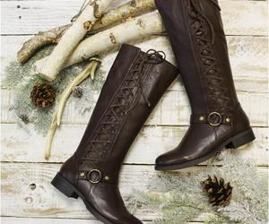 brown boots, lace up boots, and tall boots w laces image