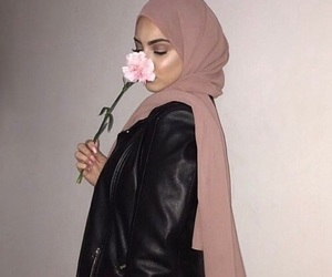 flowers, hijab, and girls image