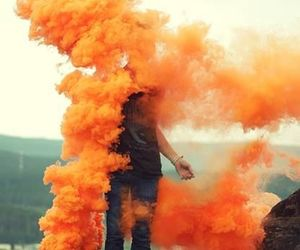 orange, smoke, and boy image