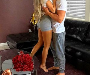 red roses, grey shorts, and relationship goals image