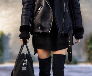 knitwear, leather jacket, and long dress image