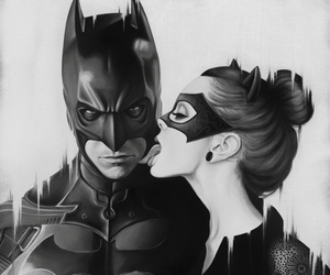 batman, black and white, and catwoman image