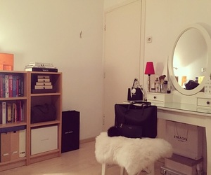 bedroom, books, and Prada image