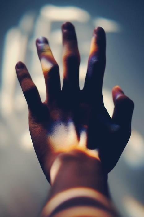 hand, light, and rainbow image