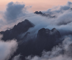 mountain, clouds, and sky image