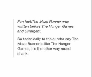 the hunger games, fun fact, and divergent image
