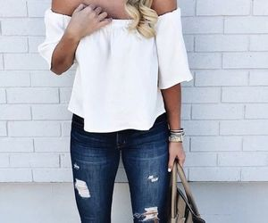 accessories, jeans, and off the shoulder image