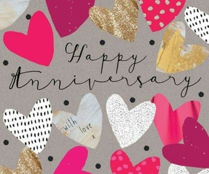 gold, pink, and anniversary card image