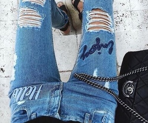bag, beauty, and blue jeans image