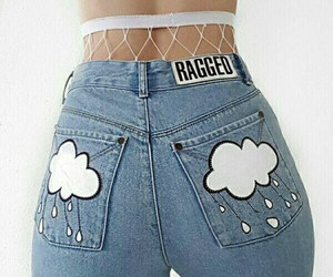 jeans, fashion, and clouds image
