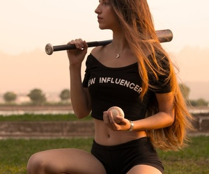 baseball, girl, and photo image