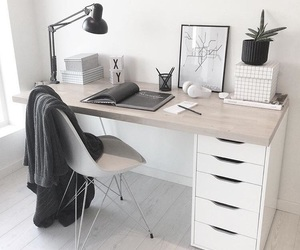white, decor, and desk image