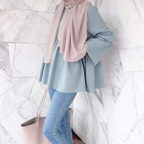 fashion, hijab, and blue image