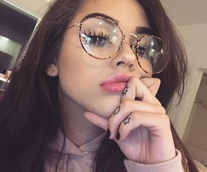 girl, tumblr, and glasses image