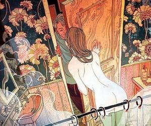 amor, baño, and couples image