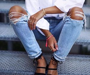 jeans, sandals, and shirt image