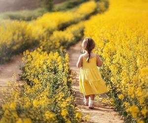 child, field, and flowers image