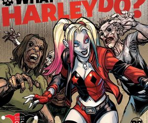 harley quinn, surrounded, and zombies image