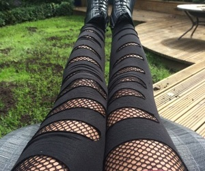 fashion, fishnets, and rips image