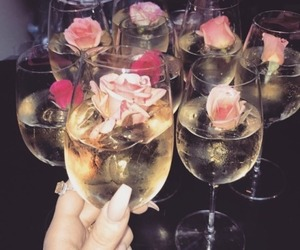 drink, flowers, and champagne image