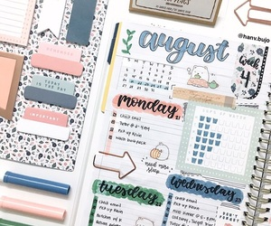 agenda, pastel colors, and planner image