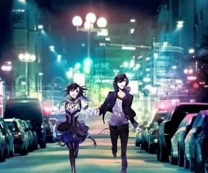 anime, city, and couple image