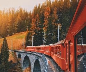autumn, train, and fall image