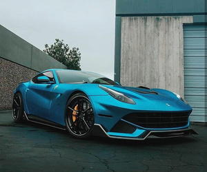 blue, ferrari, and luxury image