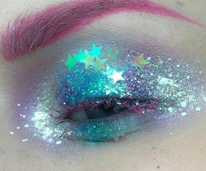 glitter, pink, and makeup image