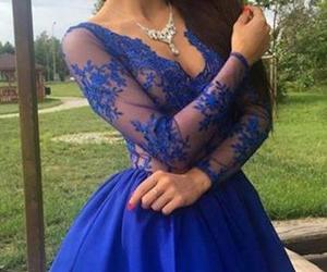 a-line prom dress, v-neck homecoming dress, and fashion party dresses image
