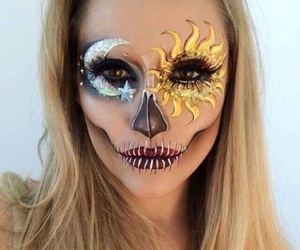 Halloween, makeup, and moon image